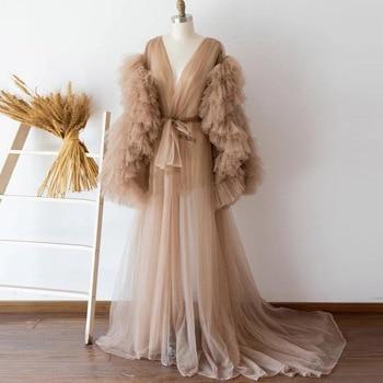 See Thru Champagne Tulle Maternity Women Dresses Ruffles Tiered Long Sleeves Full Sleeves Tulle Robe Women Dress Bridal Robe 1