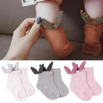 1Pair Baby Girls Socks Sweet Cotton Angel Socks Multi Colors Newborn Boy Toddler Warmth Socks Baby Clothes Accessories image