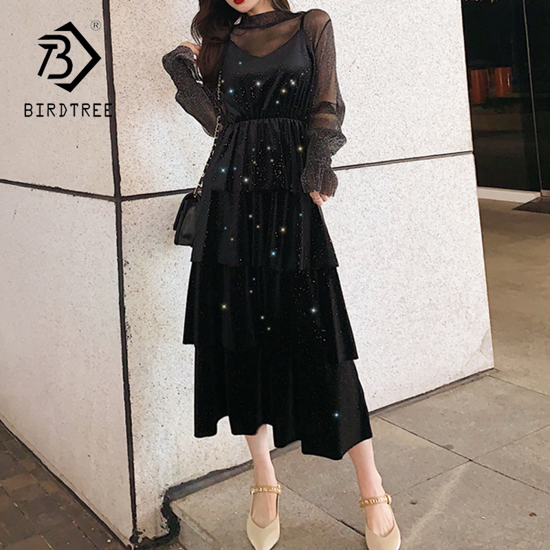 Elegant Women Black Vintage Two-Piece Set Trumpet Sleeve Dress Long Sleeve Tops Mid Long Dresses 2020 Spring D01326M