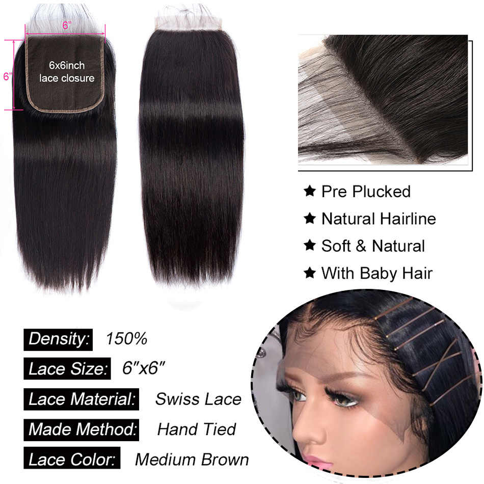 4X4 5X5 6X6 zamknięcie koronki brazylijski proste włosy ludzkie zamknięcie z dzieckiem włosy wolna część szwajcarska koronka Remy MiLisa Natural Color