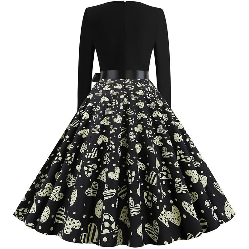 Women Long Sleeve Winter Vintage Dresses Sexy Black Music Note Print V-neck Rockabilly Pin up Party Dress Vestidos Plus size 645
