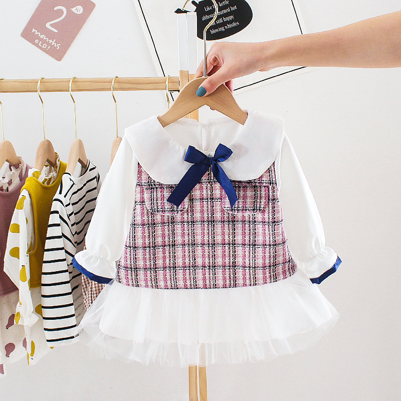 Baby Girls Cute Dress Spring  Autumn New  Bow Dress Fashion Baby Girls Princess Dress Kids