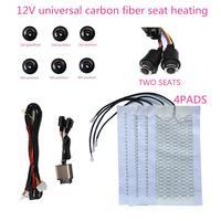 12v fibra de carbono assento aquecido para carro suv calefator pads + 6 posição interruptor rotativo botão interior cobertura assento aquecedor suporte