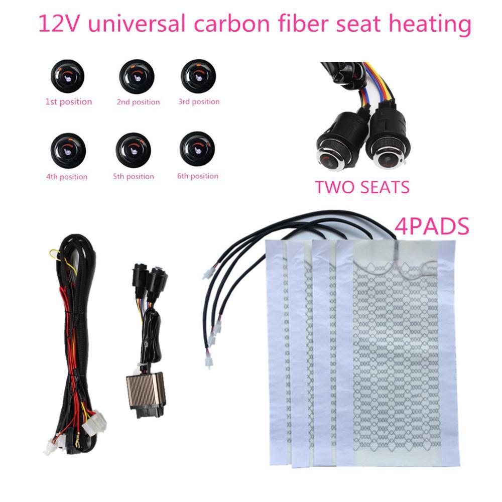 Siège chauffant en Fiber de carbone 12v pour voiture Suv coussinets de chauffage + bouton de commutation rotatif 6 positions