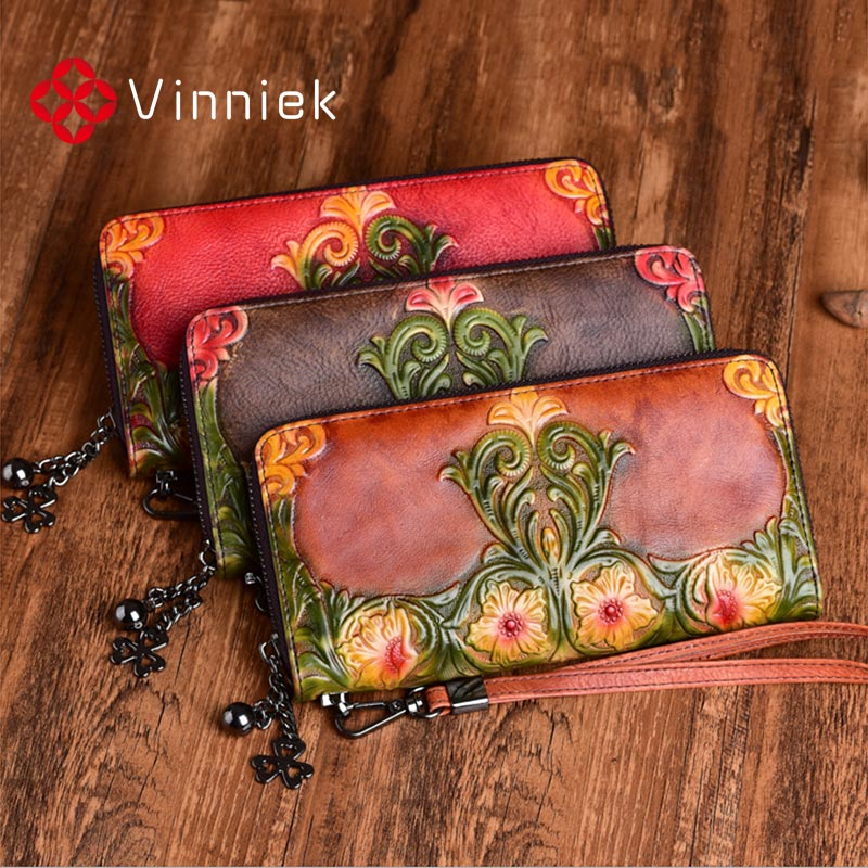 2020 New Genuine Leather Women's Wallets Vintage Embossed Purse Luxury Designer Pure Handmade Long Clutch Bag Ladies Card Holder