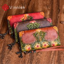 2020 New Genuine Leather Women's Wallets Vintage Embossed Purse Luxury Designer Pure Handmade Long