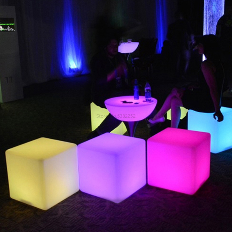 LED Stool Outdoor Luminous Furniture Creative Bar Barstools Modern Metal Chair Remote Control Colorful Cube KTV Square