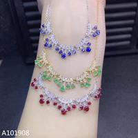 KJJEAXCMY boutique jewelry 925 sterling silver inlaid Natural Sapphire Emerald Ruby Female necklace support detection