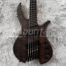 Mountain headless bass 5 string bass fanned fret ash body flame maple top 5 pieces neck free shipping