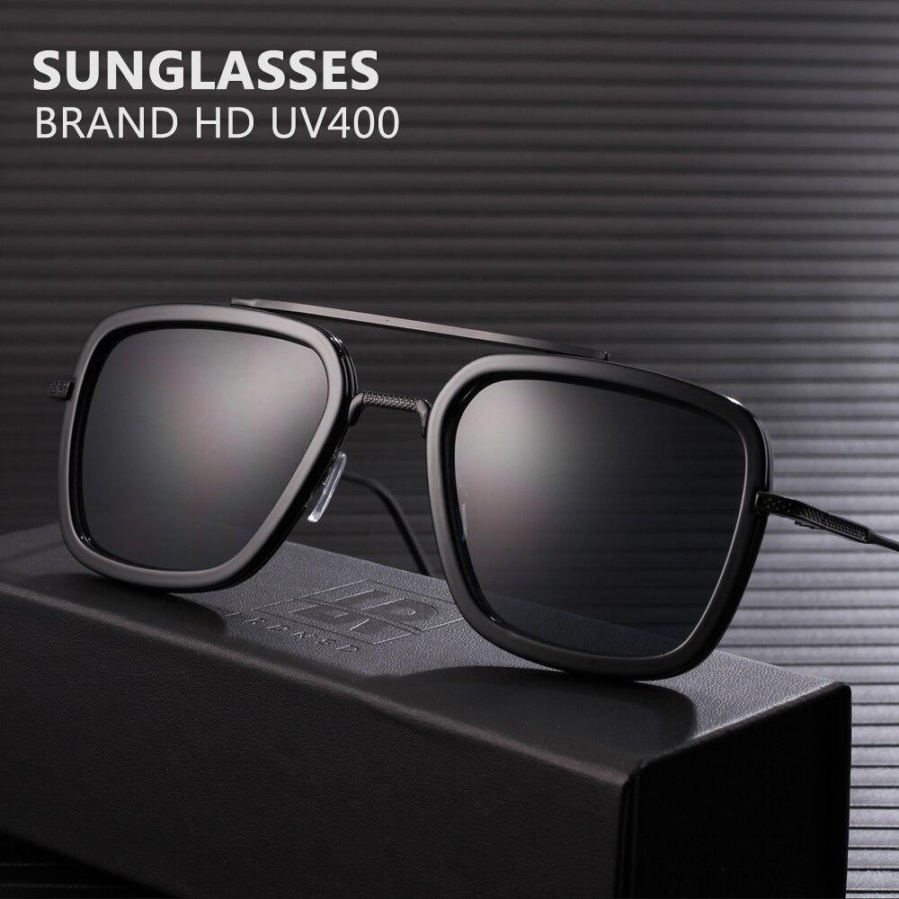 Fashion Iron Man TONY Stark Sunglasses Men Square Retro Designer Sun Glasses Oculos Masculino Gafas De Goggle