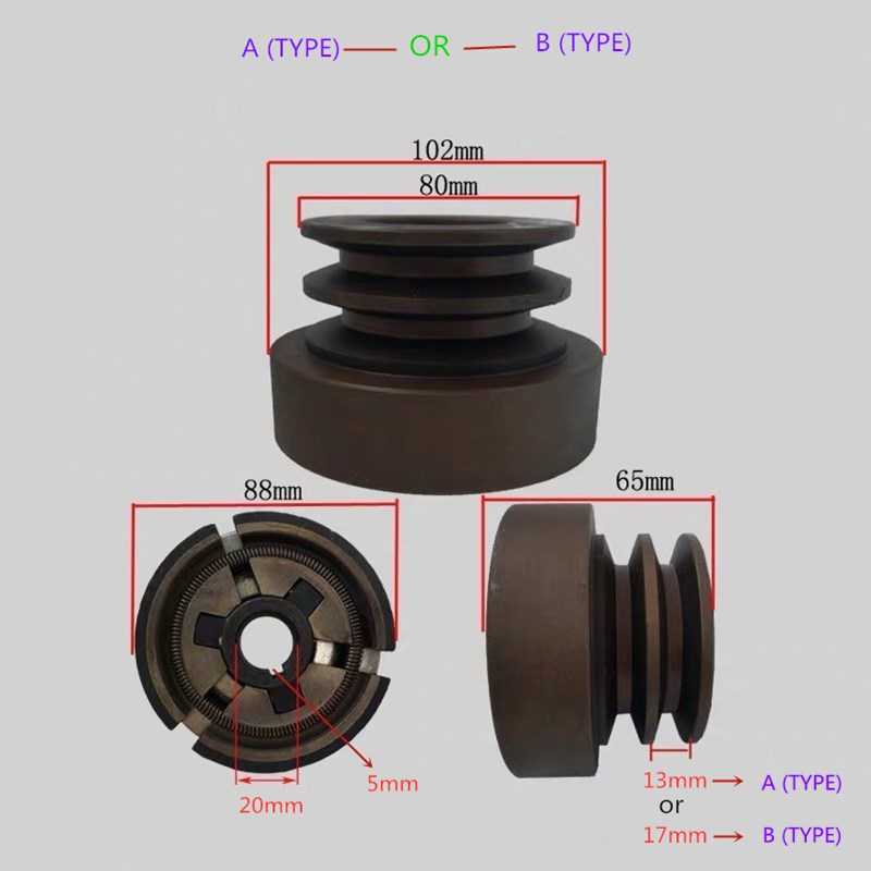 Double Groove Belt Clutch(A Type)or(B Type)fits For 168F/170F/GX200 Gas Engine With 20mm Shaft Output Used For Water Pump/cutter