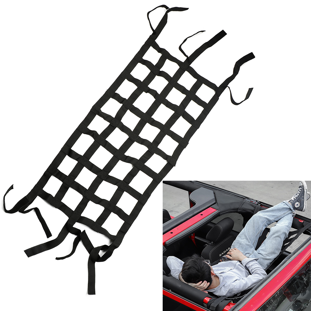 LEEPEE Mesh Cargo Net Tail Box Net Multifunction For Jeep Wrangler Car Roof Storage Net Retrofit Accessories