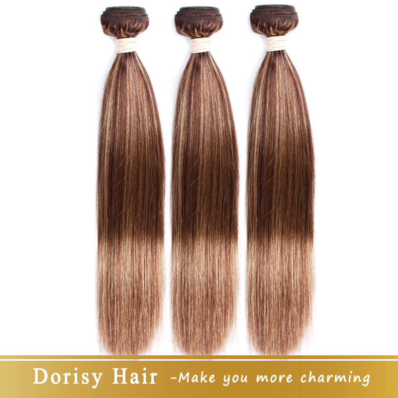 Dorisy Human-Hair-Bundles Hair-Weaving P4/27 Remy Straight Brazilian 10-26inch title=