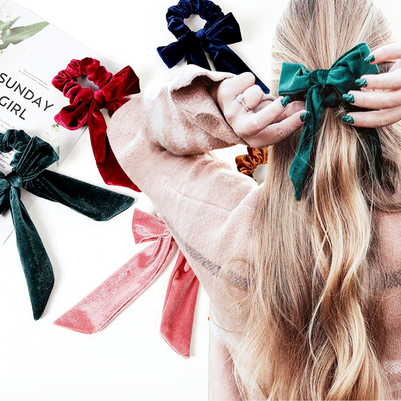 1PCS Pure Color Suede Women's Elastic Hair Band Ponytail Holder Girls Hair Accessories Hair Rope Scrunchies Headband