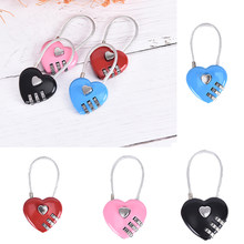 Exquisite Wire Rope Combination 3 Digital Padlock Travel Bag Heart Password Lock Suitcase Bag Door Luggage Backpack Code Locks(China)