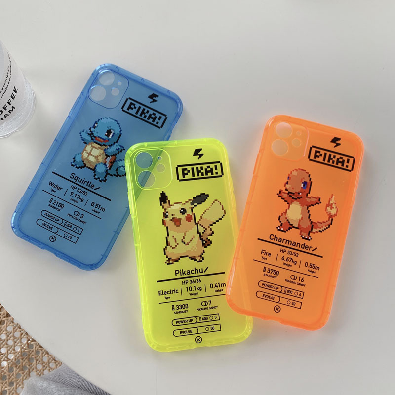 ShareEzone Fluorescent Color Cute Pokemon Cartoon Back Phone Case For iPhone 7 8 Plus X XR XS Max 11pro Max Clear Soft Backcover 2