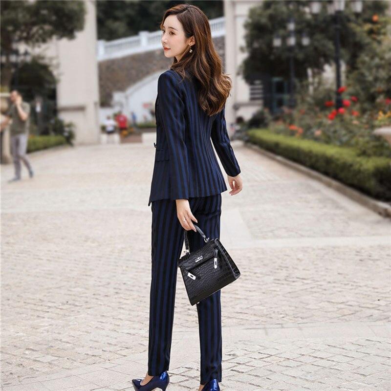 Women's suit 2019 autumn new casual fashion temperament slim stripes single buckle small suit trousers two-piece 20