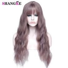 SHANGKE длинные смешанные Фиолетовые женские парики с челкой термостойкие синтетические кудрявые парики для женщин афро-американские