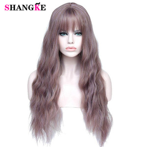 SHANGKE Long Mix Purple Womens Wigs with Bangs Heat Resistant Synthetic Kinky Curly Wigs for Women African American(China)
