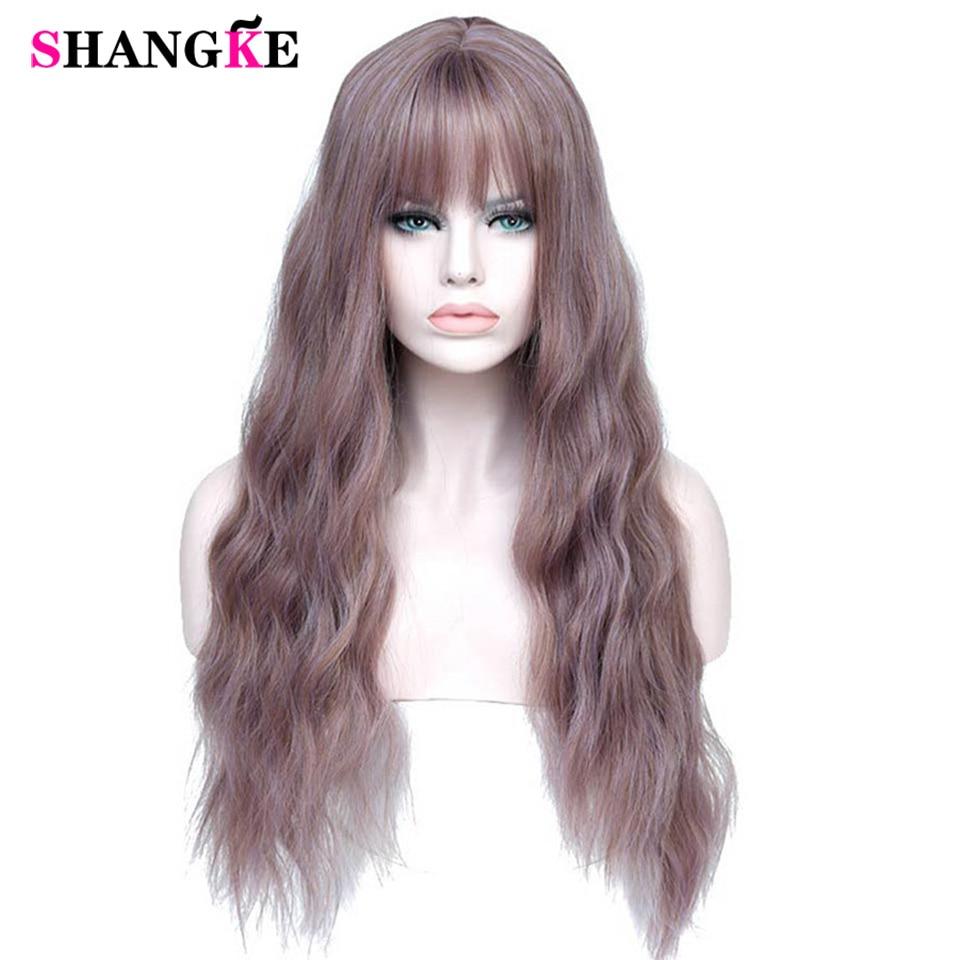 SHANGKE Long mélange violet femmes perruques avec frange résistant à la chaleur synthétique crépus bouclés perruques pour les femmes afro-américaines