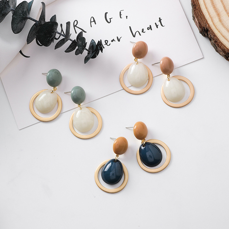 Korean style Geometric Circle Candy Color Drop Earrings Smooth Stone Button Statement Fashion Temperament Simple Earrings F4P731