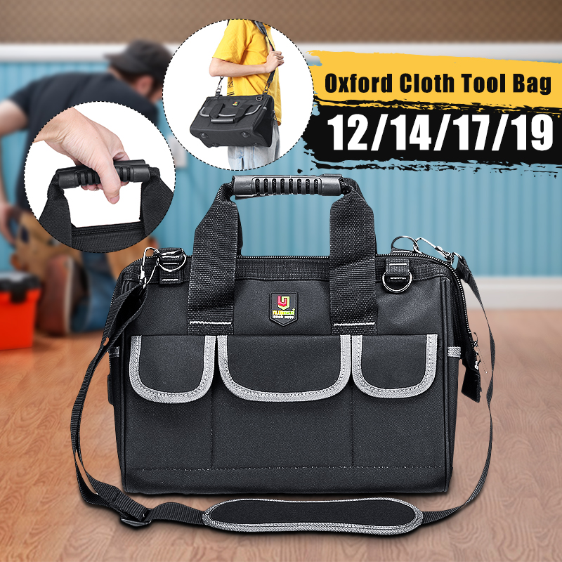 Oxford Tool Bag Waterproof Hand Tool Storage Bag Electrician Bag Large Capacity Tool Storage Bag 12/14/17/19 Inch
