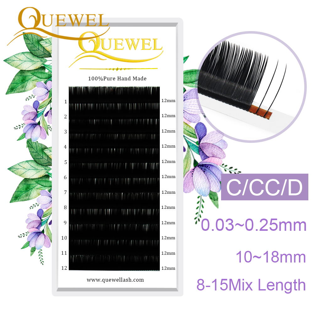 Quewel Lashes Extension Silk Fiber 12 Lines/Tray Wholesale Single Eyelash Extension Eyelashes Personality Eyelashes LM