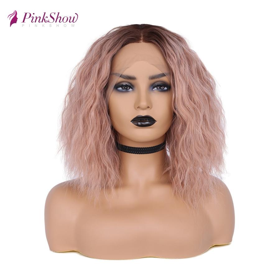 Pinkshow короткий боб парик кудрявый розовый синтетический парик фронта шнурка для женщин термостойкие волокна волос естественные волосы