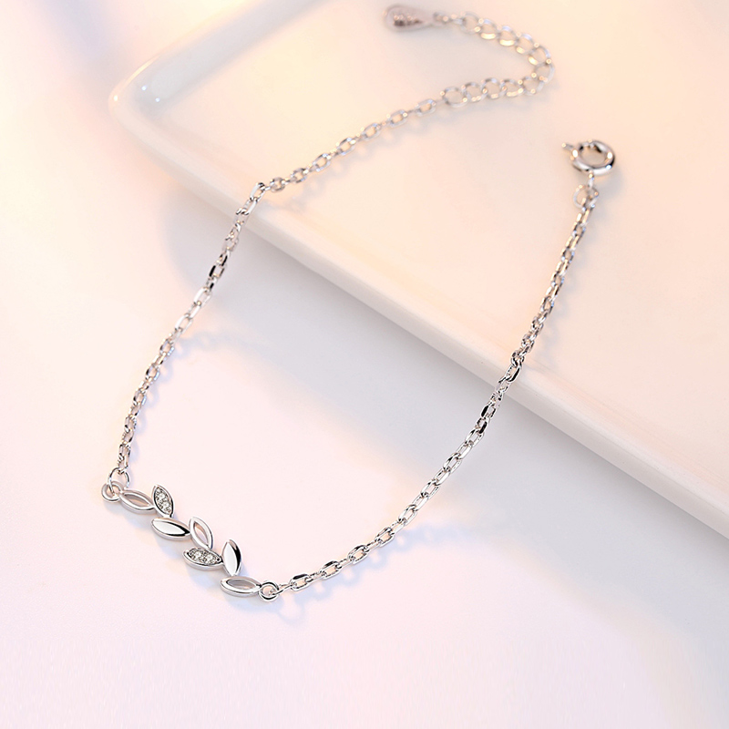 Lucky With Tree Leaves Silver Jewelry Ladies Bracelets Japanese and Korean Version Simple Jewelry Accessories Couple Bracelets 2