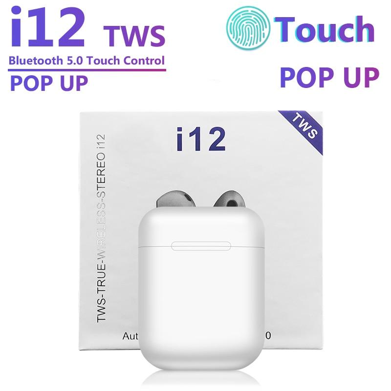 I12 TWS Bluetooth 5.0 Headphones Wireless Sports Headset Popup Earphones Touch Key Mini Gaming Headset I11 I12 I7s I20 I60 I30