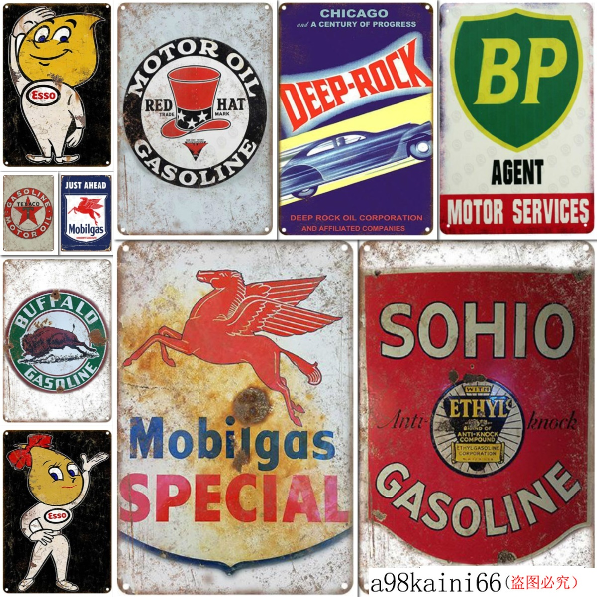 Metal Tin Sign sunoco mercury motor oil  Decor Bar Pub Home Vintage Retro