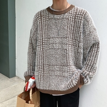 Winter Plaid Sweater Men Warm Fashion Contrast Casual O-Neck Knit Pullover Men Wild Loose Long Sleeve Sweter Male Clothes M-2XL
