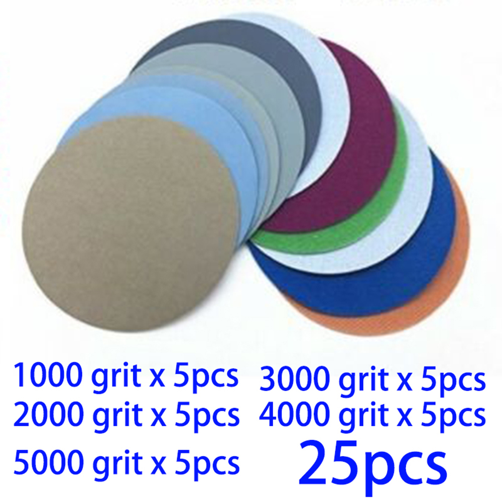 25pcs/Set Waterproof Wet/Dry 2-Inch 1000 2000 3000 4000 5000Grit Sand Paper Sanding Discs Sandpapers