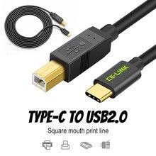 Tip C erkek konnektör USB 2.0 B tipi erkek veri kablosu adaptörü cep telefonu yazıcı sabit Disk dosya transferi hızlı altın kaplama