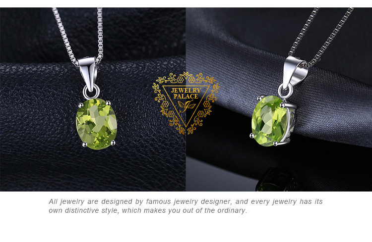 H6a08a391e31548019cdcab68771687bdW Natural Peridot Pendant Necklace 925 Sterling Silver Gemstones Choker Statement Necklace Women silver 925 Jewelry Without Chain