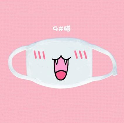 Kawaii White Dust Mask Kpop Cute Anime Cartoon Mouth Cover Mask Muffle Emotional Mask Kpop Funny Unisex Cotton Mask Disposable 3