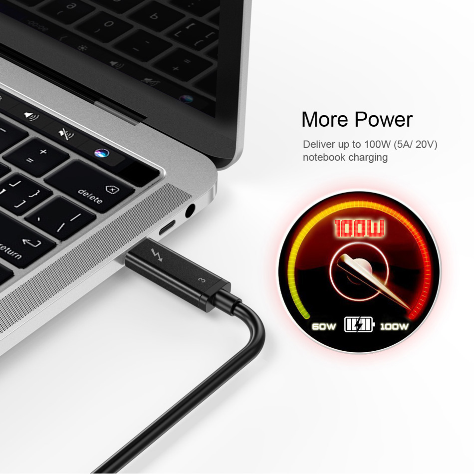 Image 3 - CHOETECH Thunderbolt 3 Cable 2M/6.5f 40Gbps 100W 5A/20V Support  5K UHD or 4K 60HZ Display USB Type C HDMI Cable for Macbook Pro  -