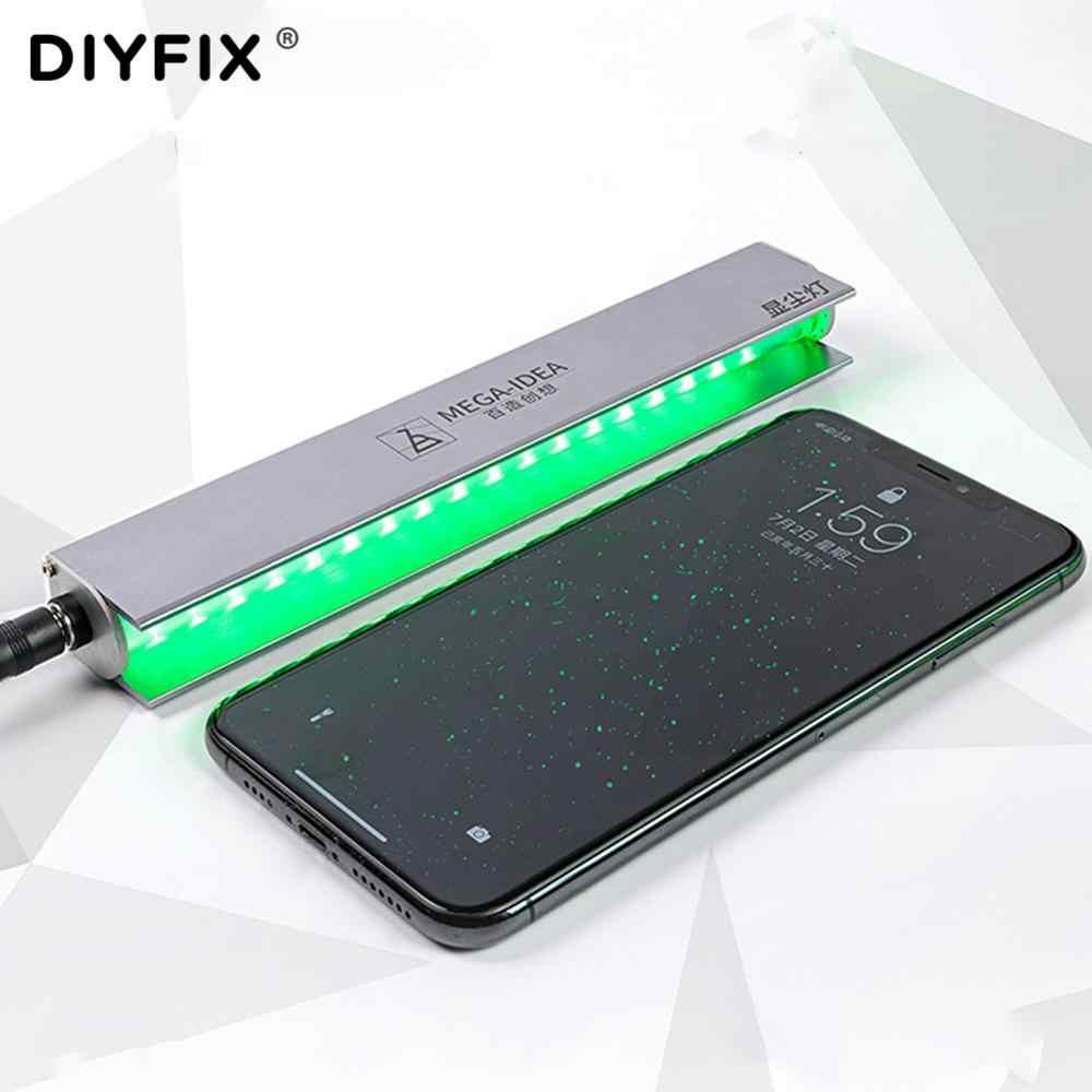 شاشة LCD إصلاح الغبار مصباح بصمة خدش شاشة الغبار كشف الغبار عرض مصباح هاتف لوحي المحمول الأخضر مصباح ليد