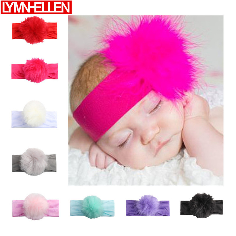 New Newborn Toddler Baby Girls Head Wrap Cute Candy Color Plush Ball Stretch Turban Headband Hair Accessories Decoration Gifts