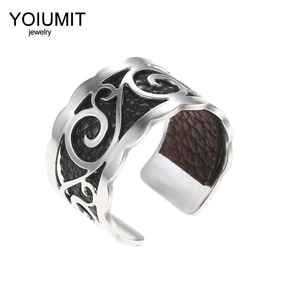 Cremo DIY แหวนเงินปรับขนาดได้แหวนสำหรับผู้หญิง Bijoux แหวนสแตนเลสหนังเปลี่ยนได้ Bague Femme