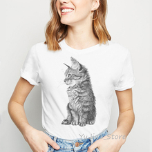 Black And White Cat Drawing women shirts femme animal print vintage t shirt kitten lover t-shirt camisas mujer streetwear