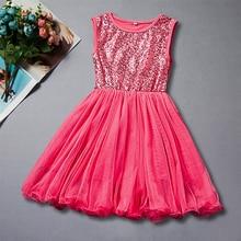 купить New Arrival Summer Fashion Kids Dresses for Girls Sleeveless O-neck Cute Sequin Mesh Girls Dress Princess Dress Birthday Gift дешево
