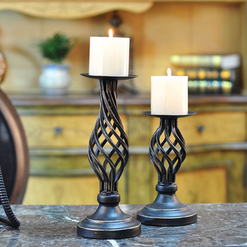 Europe Golden Hollow Metal Pattern  Candle Holder Wedding Centerpieces Decorative Iron Candlestick  Decor Crafts 1