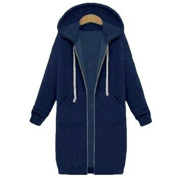 Spring 2020 Casual Hoodie Zipper Long Coat Sweatshirt Women Zip Up Loose Oversized Jacket Coat Women Hoodies Outwear Tops 13