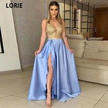 Lorie атласные с кружевами вечерние платья глубоким v образным