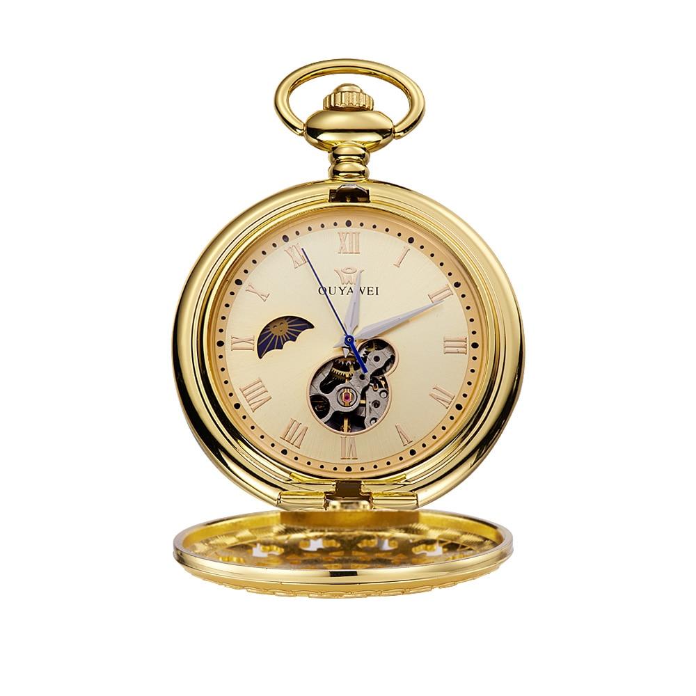 Men's Watch Golden Case Roman Numerals Moon Phase Hand Wind Mechanical Pocket Watch Men's Watch OYW-P03 Xmas Gift