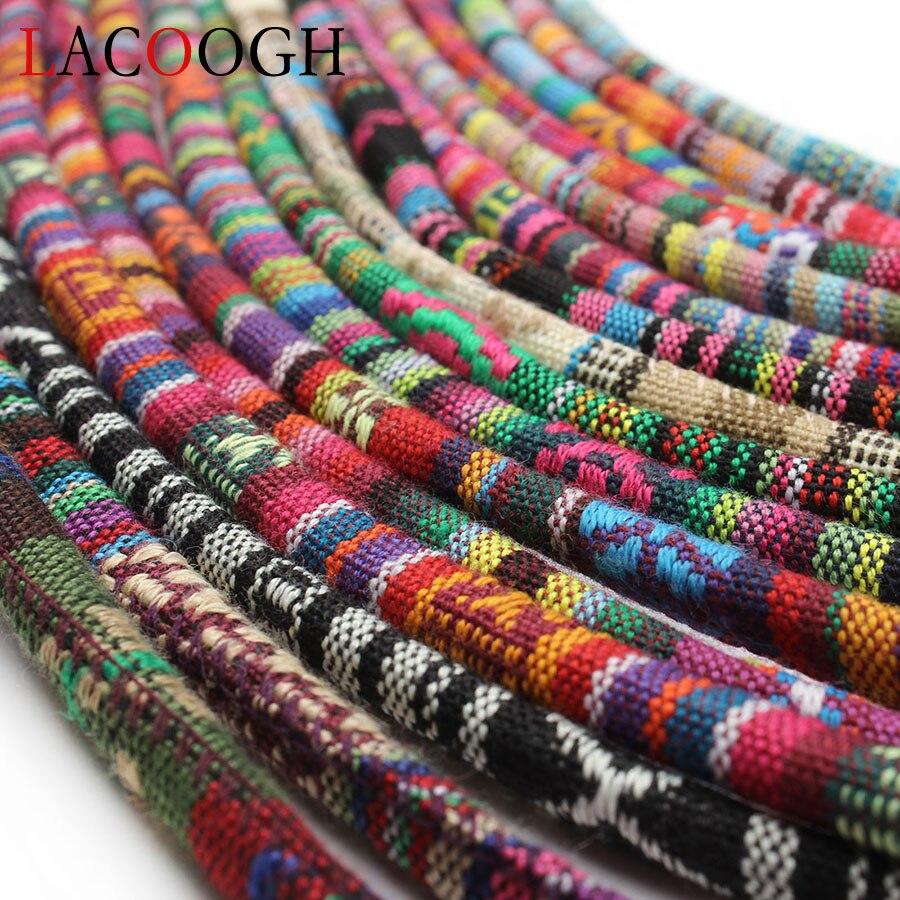 Хлопковый шнур ручной работы, 5 метров, разные цвета, 6 мм, круглая ткань, этническая веревка, текстильная оболочка, шнуры для вышивки, для изг...