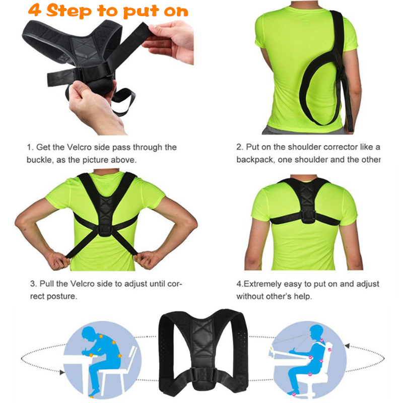 SIELENSON Adjustable Clavicle Posture Corrector Belt for Men and Women to Pull and Straighten Upper Back and to Improve Whole Body Posture 4