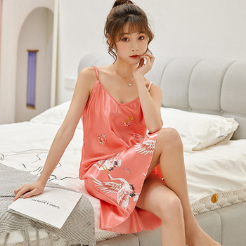 100% Mulberry Silk nightgown Women Summer Sling Nightdress Sexy fashion luxury brand pink black Home sleepwear