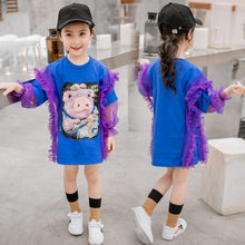 Cute Cartoon Pig Shape T shirt for Girls 13 to 4 Years Teenage Clothes Lace Tshirt Long Petal Sleeve Kids T-shirt Tops